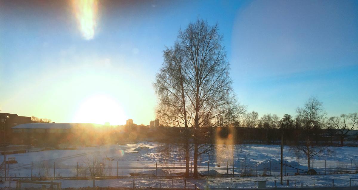 Här bygger vi Västra Munktellstaden, tomten sett från nya Stiga Sports arena